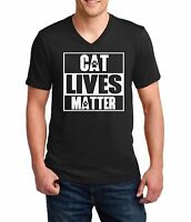 Men's V-neck #3 Cat Lives Matter T Shirt Funny Tee T-shirt Kitty Animal Lovers