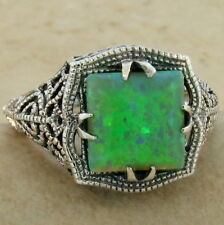 Antique Filigree Style Syn. Green Opal 925 Sterling Silver Ring Size 8, #897