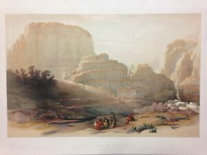 PETRA JORDAN 1842 DAVID ROBERTS ANTIQUE VERY LARGE LITHOGRAPHIC VIEW 19e CENTURY