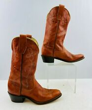"""Ladies Wrangler Brown Leather Pointed Toe Western Cowgirl Boots Size: 6 """"Narrow"""""""