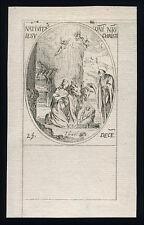 santino incisione 1600 NATIVITA' DI N.S.GESU' CRISTO.  j.callot