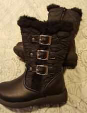 Nwob Toddler Girls Rachel Shoes Boots size 6 Catniss Black Quilted Zip - Sh7
