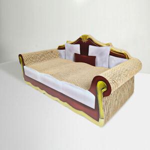 Cat Kitten Sofa Couch Scratch Lounge Corrugated Cardboard Scratcher Board Red