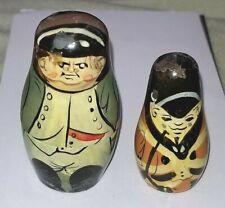 "2 Vintage Wood Nesting Dolls Napoleon & British Solider Waterloo 2.25"" & 1.75"""
