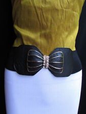 Women Belt Fashion Hip Waist Elastic Black Big Silver Bling Metal Bow Buckle S M