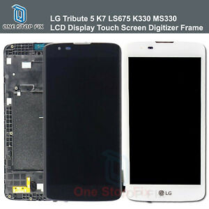 LG Tribute 5 K7 LS675 K330 MS330 LCD Display Touch Screen Digitizer Frame New