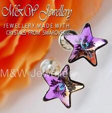925 Sterling Silver Stud Earrings Crystals From Swarovski® STAR Vitrail Light