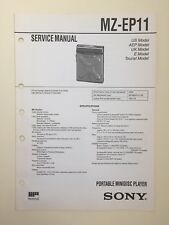 Sony MZ-EP11 Service Manual (original Document Not Copy Or PDF)