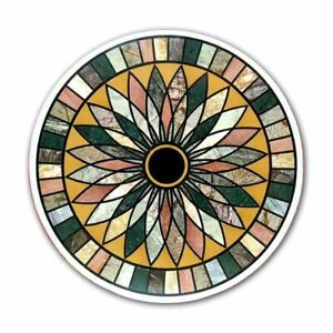 "36"" marble table top semi precious stones inlay work Handicraft decor"