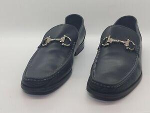 Salvatore Ferragamo Grandioso Bit Men's Black Leather Loafers Size 10 EE