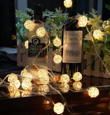 LED Lichterkette mit Kugeln 20 LEDs Leuchtekette Außen Innen Party Deko Warmweiß