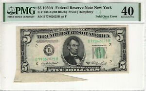 1950 A $5 FEDERAL RESERVE NOTE FOLD OVER ERROR PMG EXTREMELY FINE EF XF 40 (625B