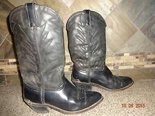 Mens Durango Sz 8.5 EE Black Thick Leather Cowboy Boots Silver Heel Caps