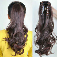 """Wavy 16"""" 95g 100% Remy human hair extensions Claw Clip Ponytail option colors"""