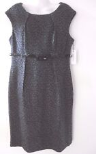Calvin Klein Dress Pencil Wiggle Work Cocktail Black & Grey with Belt US12 BNWT