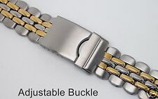 18mm - 20mm Fully Adjustable Stainless Steel & Gold-Tone Sports Watch Bracelet