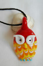 Murano glass pendant red yellow little cute lucky owl with black cord necklace