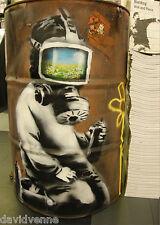 Banksy Graffiti Oil Drum Gas Mask 30 x 40 canvas print