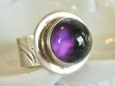 VINTAGE BEN LIVINGSTON ZUNI NATIVE AMERICAN STERLING AMETHYST SHOOTING STAR RING