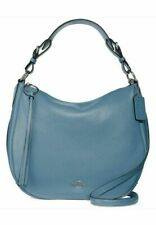 NEW COACH Slate Blue Pebbled Leather Large Sutton Hobo Crossbody Bag Purse $325