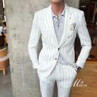 White Pinstriped Summer Linen Suits Men's Leisure Sport Beach Suits Two Pieces
