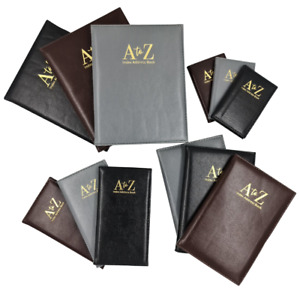 Index Address Book Leather Look Cover Executive Padded 4 Sizes Notebook A-Z