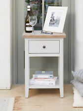 Signature Painted Grey Limed Oak Top Lamp Table with Drawer Side End Table