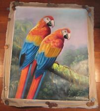 Hand Made Parrot  Bird Animal Oil Painting Cambodia Cambodian Art A25