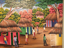 Haitian Original by Edwin The Rural Village Morning Great Example of Haitian Art