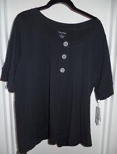 Calvin Klein Women's Plus Size 0X Scoop Neckline Short Sleeve Top - Navy