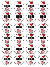 "X24 1.5"" I Love Bingo Cumpleaños Cupcake Topper En Papel De Arroz Comestible"