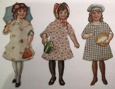 UnusualAntique Cloth and Paper Dolls Lot of 3