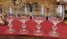 "Bohemia Crystal CASCADE 5.75"" Small Wine Glasses Etched Lot of 4 EUC"