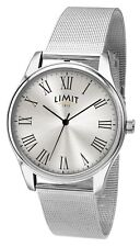 BRAND NEW MENS LIMIT WATCH SILVER DIAL STAINLESS STEEL MESH BRACELET 5659