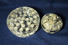 """PAIR of Vintage Clear Glass Fresh Cut FLOWER FROGS 3"""" and 4.5"""" Diameter"""