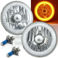 5-3/4 SMD Amber LED Halo Halogen Bulb Headlight Angel Eye Crystal Clear Pair