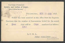 1898 PC PHILA PA KNIGHTS & LADIES OF HONOR ASSESSMENT NOTICE