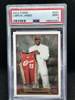 2003-04 TOPPS BASKETBALL #221 LEBRON JAMES RC ROOKIE CARD CAVS PSA 9 MINT