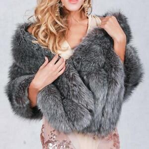 Luxury Women Winter Warm Fox Fur Coat Cocktail Shawl Stole Wrap Shrug Scarf au