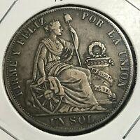 1889 PERU SILVER ONE SOL NICE CROWN COIN