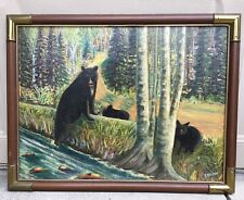 Antique Folk art oil painting of Mother bear and two bear cubs signed EMBLING