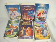 Disney Vhs (6) Little Mermaid Dumbo Jungle Book Lady Tramp Fox Hound Aladdin