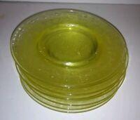 """Hazel Atlas Florentine No 2 Yellow Glass 6"""" Bread & Butter Plate Poppy Lot of 8"""