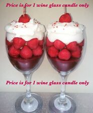 Fresh Strawberries Scented Strawberry And Cream Wine Glass Dessert Candle