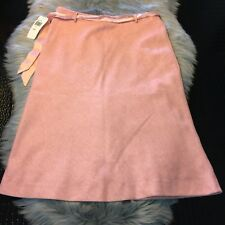 NWT Liquid Wool Blend Pink Midi Skirt Belted Size 6 Made In USA $114 NICE!