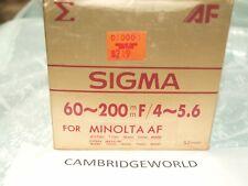 60-200mm F3.5\-5.6 SIGMA AUTOFOCUS  AF ZOOM LENS for SONY ALPHA MINOLTA MAXXUM