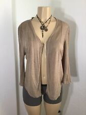 NIC+ZOE Women's Tan Open Front Cardigan Linen Blend Sweater Size XL