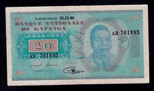 KATANGA   20  FRANCS   1960  PICK # 6a VF.