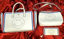 Inspired by designer 3 piece purse handbag clutch smiley face perforated white