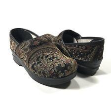 DANSKO Womens 37 US 6.5-7 Clog Professional Shoe Velvet Tapestry Print Gold